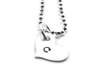 Heart Shaped Initial Necklace, Sterling Silver, Letter c Necklace, All Letters Available, Personalized Heart, Hand Stamped Jewelry, Mother's