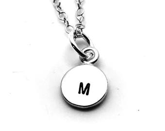 Mini Initial Necklace, Sterling Silver, Letter M Necklace, Hand Stamped Jewelry, All Letters Available, Mother's Necklace, Gift for Her