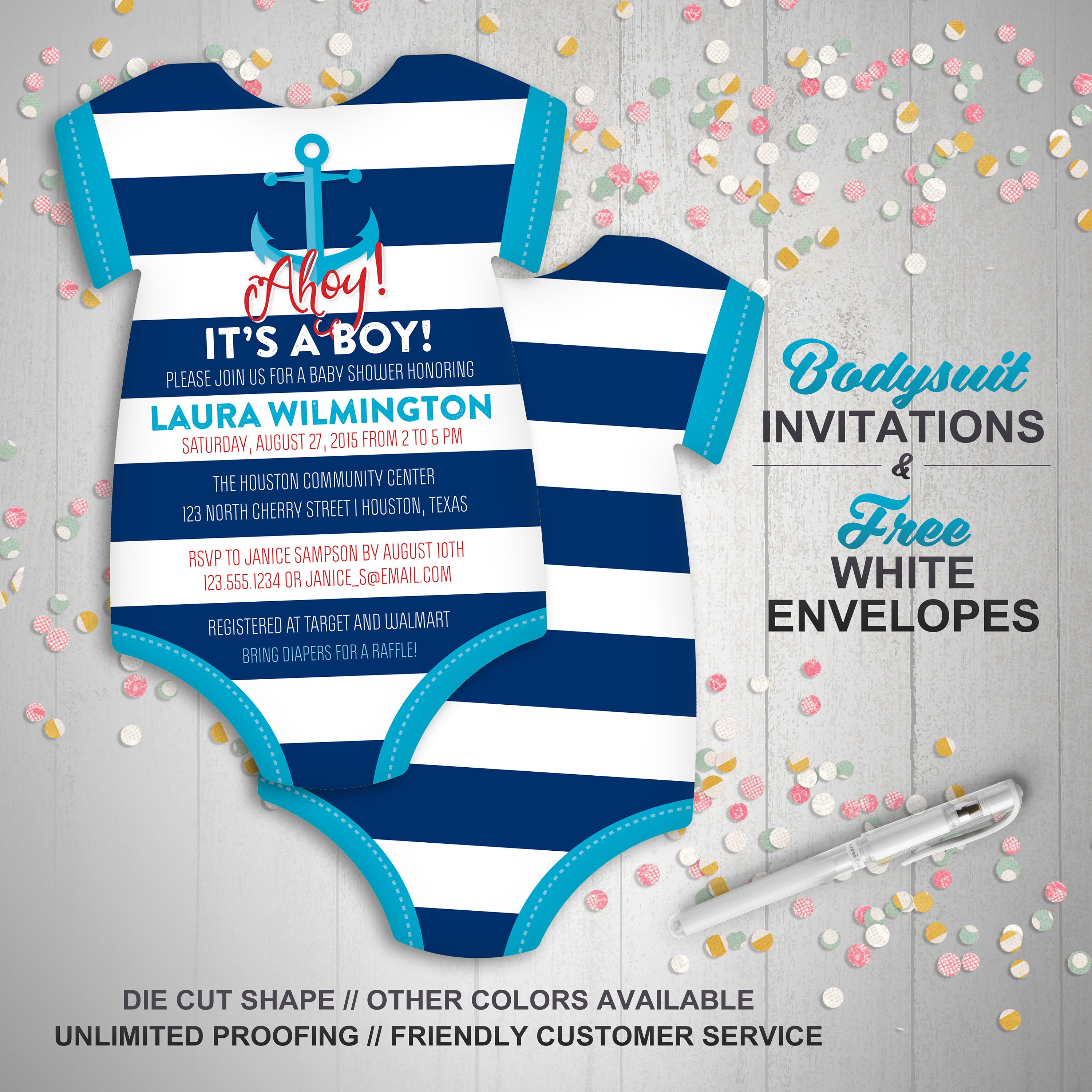 10 Anchor Baby Shower Invitations Sailor Nautical invite