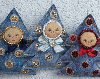 Christmas ornaments,Christmas decorations,Christmas tree,textile tree,primitive Christmas tree,new year ornaments
