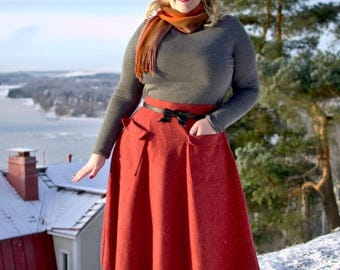 SUMMER SALE 50s style burnt orange wool winter skirt with pockets, size US 12 / pin up skirt / vintage style skirt / hand made / swing skirt