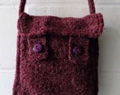 Purple Knitted Shoulder Bag Hand Knitted Handbag.