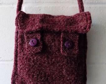 Purple Knitted Shoulder Bag, Hand Knitted Handbag.