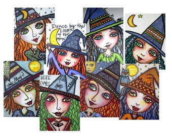 WITCHES, ACEO, set 2, Little Witch, Mini Art Print, Halloween, Art, Girl Friend, Gift Card, Trading Card, Mixed Media Print, Art Card