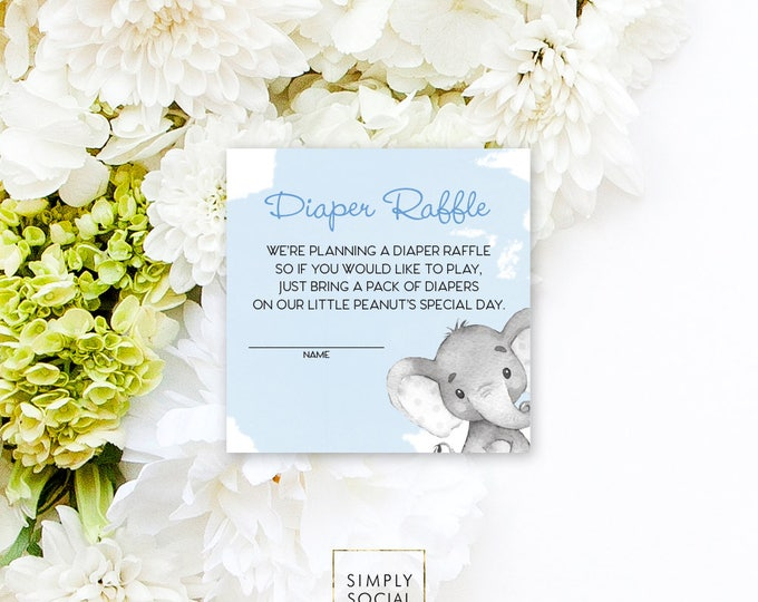 INSTANT DOWNLOAD Elephant Baby Shower Diaper Raffle insert Blue Boho Elephant Jungle Watercolor Calligraphy PRINTABLE