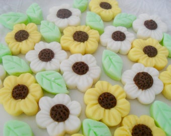 DAISIES AND LEAVES - 100 Cream Cheese Mints, Weddings, Birthdays, Cupcake Toppers, Cake Decoratioms, Special Occasions