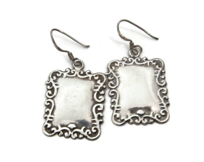 Repousse Sterling Luggage Tag Earrings, Sterling Silver, Vintage Earrings, 925 Silver, Victorian Style