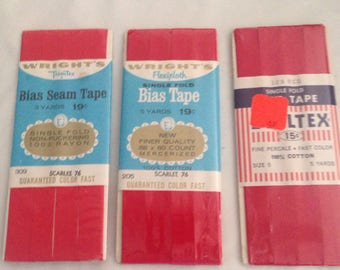 "Red 3  pack Single Fold BIAS TAPE  1/2"" 3 yards"