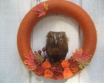 Fall Yarn Wreath//Fall Wreath//Owl Wreath//Fall Decor/Felt Flower Wreath