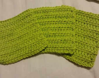 RTS- Set of Three Bright Lime Green Hand Crocheted 100% Cotton  Baby Boy Girl Bath Washcloths- Great for Bathtime and Soft on Baby's Skin