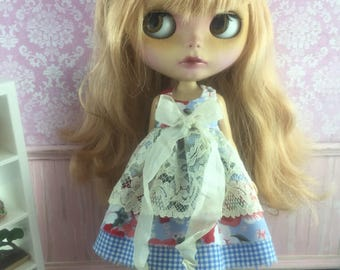 Blythe Vintage Lace Dress - Blue Floral with Gingham