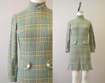 1960s Wool Plaid Mod Mini Dress
