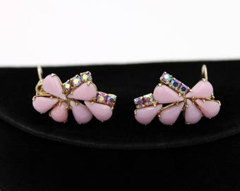 Lilac-Pink Milk Glass Earrings with Aurora Borealis Rhinestones