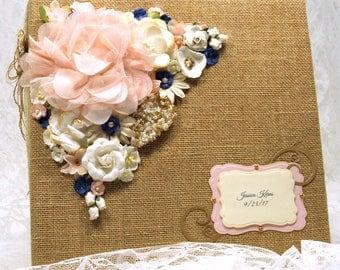 Letters to the Bride photo album, Burlap Photo Album for Wedding, Wedding Party gift to Bride, Custom Designed wedding album