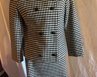 Vintage 60s Black and White Dress with Matching Jacket