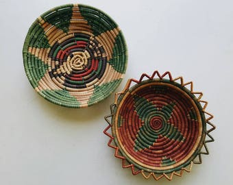 Colorful Mexican Coil Baskets - Bohemian Wall Decor - Boho Baskets