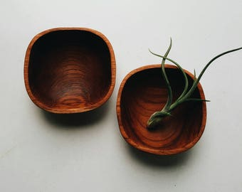 Pair of Handcarved Wooden Bowls - Rustic Modern Farmhouse Accessory - Trinket Bowl - Minimalist