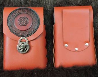 In stock 8oz Hip Flask or Cell Phone Leather Belt Pouch, Red