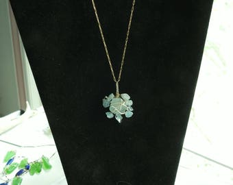 Seaglass and Aquamarine Gold Necklace, Alaska Sea Glass Jewelry, Gold Wirewrap, Genuine, March Birthday, Aqua Seaglass, Girlfriend Gift