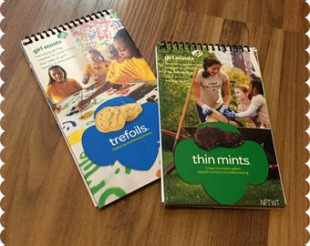 Girl Scout Cookies Notebook, Trefoils, Thin Mints, Recycled Spiral Bound Notebooks, Cookies, Jotter
