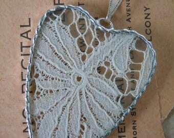 Fiona & The Fig - Antique Victorian Lace - Soldered Charm - Necklace - Pendant-Jewelry