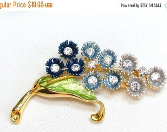 25% Off Antique Estate Brooch Blue Hues Floral Bouquet Brooch, Clear Rhinestone Pin, Enamel Flowers and Leaf