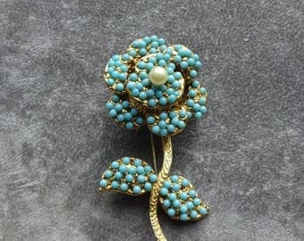 25% Off Vintage Layered Faux Turquoise and Pearl Flower Brooch