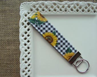 Wristlet /  Key Chain - Sunflowers & Gingham