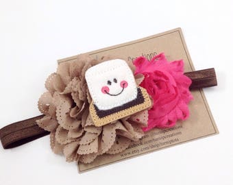 S'mores Headband Smores Pink Brown White Eyelet Flower Summer Headband Camp Out Camping Summer Camp Smore Headband Girls Headband