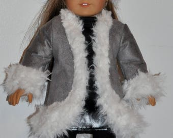Custom made doll clothes fits American Girl 18 inch dolls- gray coat, boots,  and hat set