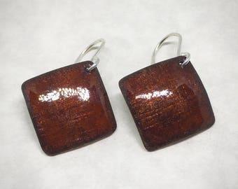 Opalescent dark orange enamel square earrings