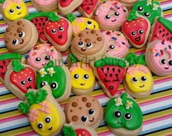 Fruit cookies - MINI fruit and dessert cookies - donut cookies - 2, 3, or 4 dozen mini decorated cookies - birthday cookie favors
