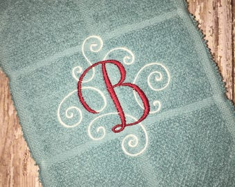 Elegant scroll two color alphabet embroidered kitchen hand towel - kitchen towel - kitchen linens - monogrammed towel - wedding gift- made t