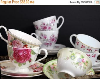 ON SALE 7 Matching Sets Cups and Saucers Lot - Tea Party or Vintage Wedding Favors - Bulk Teacups 13890