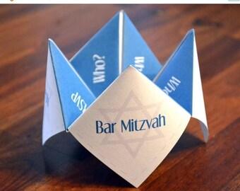 Bar Mitzvah, Bat Mitzvah, Invitation, Favor, Birthday, Party, DIY, Torah, Cootie Catcher, Religious, Star of David, Announcement