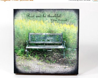 CIJ SALE Rustic Bench Photo, Wooden Art Block, Vintage Park Bench, Inspirational Quote, Forest Photo Block, Summer Day Block, TTV Vintage Fr