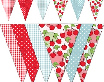 Sweet Cherry Banner, Printable Banner, Cherry Birthday Party Pennant Banner, Photography - Instant Download - DP498