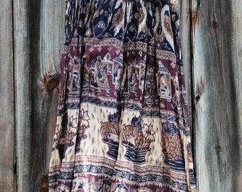 Vintage Indian Gauze Skirt Sheer and Flowing in Floral, Fruit, Feathered Fauna and Elephants