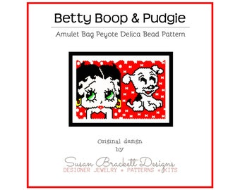 Betty Boop and Pudgie Pattern, DIY Beaded Amulet Necklace, Peyote Double Sided Patterns, Beading Tutorial, Pop Icon Art, Cartoon Character