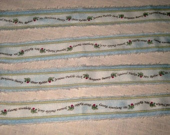 Spring Easter Peter Rabbit Hand Distressed and Hand Stamped Fringed Ribbon Twill Rabbit005 ECS