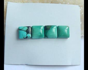Sale 4 PCS Turquoise Gemstone Cabochon Set,11x11x5mm,10x10x5mm,4.7g(m0389)