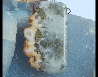 New,AAA Drusy  Geode Quartz With Pyrite Pendant,53x32x8mm,28.4g