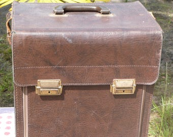 Vintage Large Brown Leather Briefcase w Trays  - Jewelry Trays - KLING  Musterkoffer - Valise - Hand Bag - Jewerly Display - Jewelry Storage