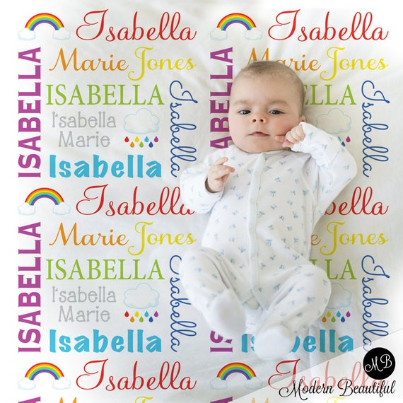 Rainbow baby blanket personalized baby gift rainbows baby blanket il570xn negle Images