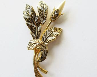 On Sale Damascene Flower Pin Vintage Damascene Brooch With Pearl Flower