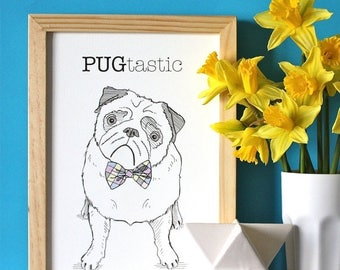 ON SALE Pug Dog  Print