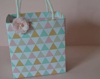 Bohemian pink and mint favor bag