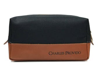 Personalized Toiletry Bag - Engraved Leather Dopp Kit - Black & Tan