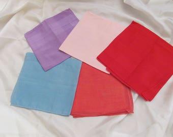 Hankies Lot of 5 Solid Color Vintage Handkerchief Hankies (Lot 27Z)