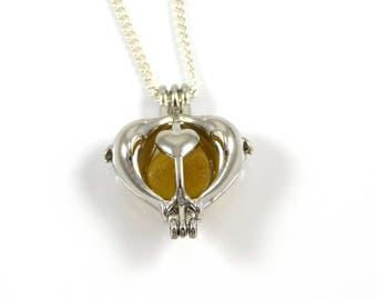 Rare Yellow Gold Sea Glass in Silver Heart Charm Necklace
